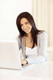 Woman doing online work